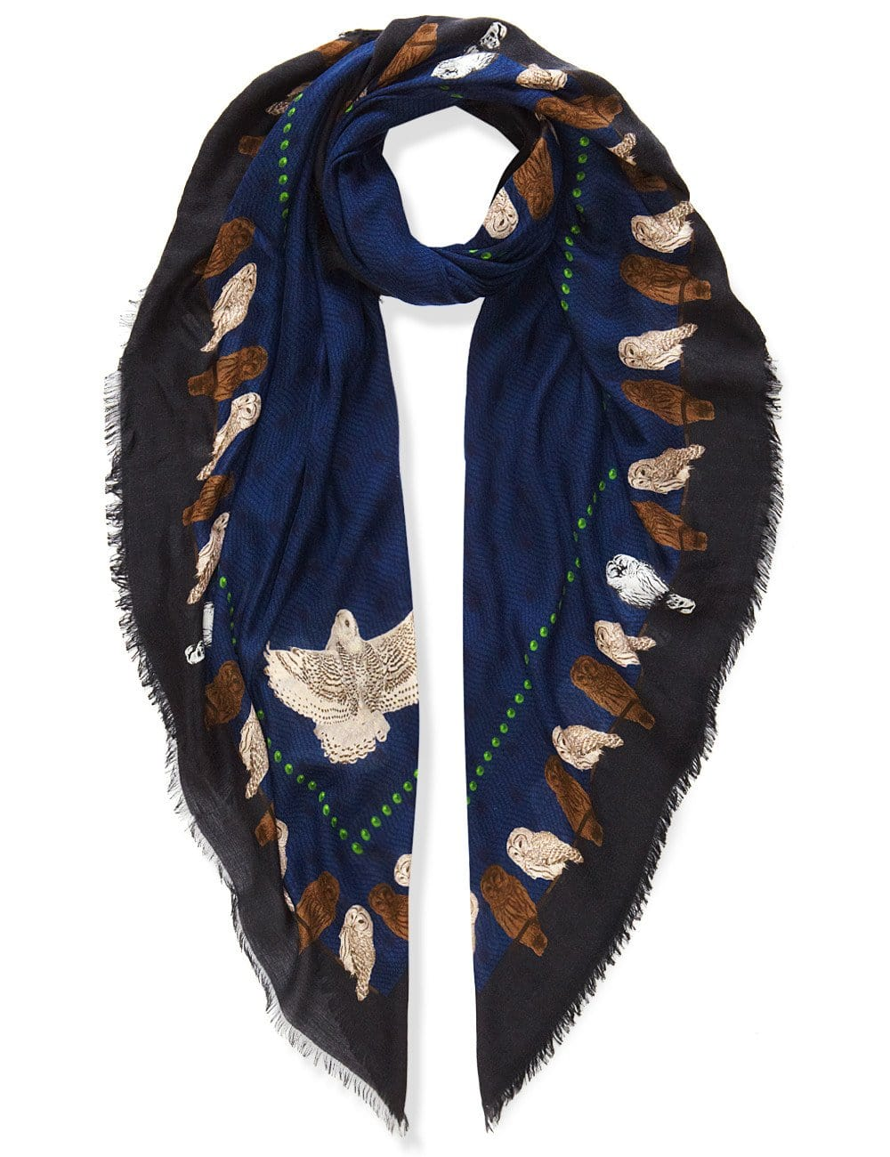Owls scarf blue
