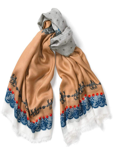 Beige Lace and Bambi Print Scarf