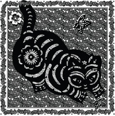 Cat Print Scarf Black and White - VASSILISA