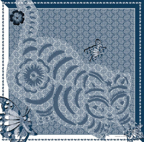 Cat Print Scarf Blue White - VASSILISA