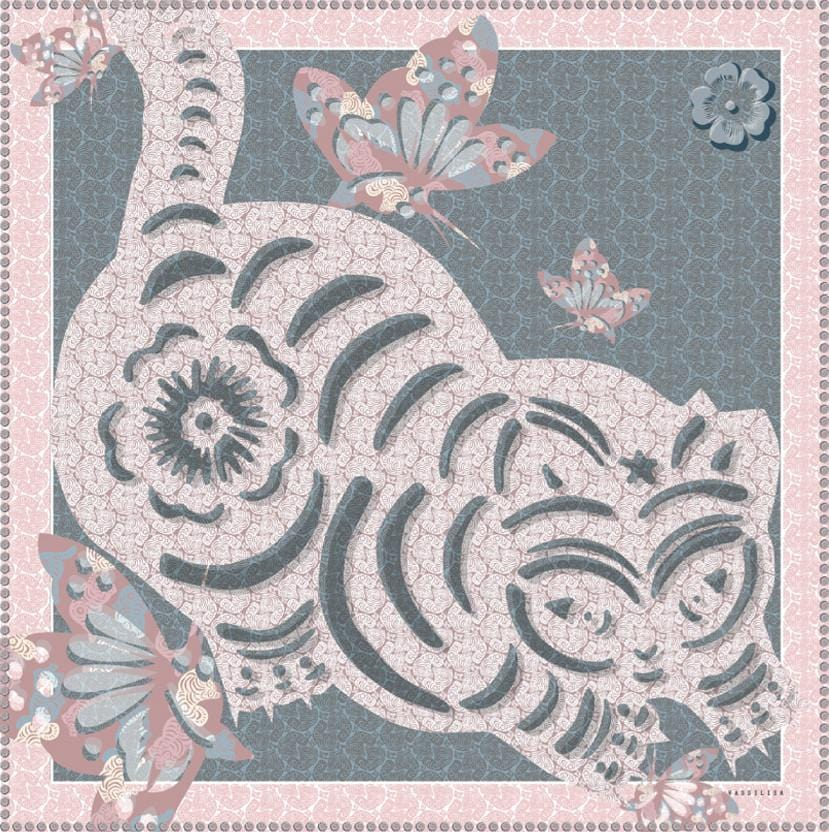 Vassilisa: Cat print scarf powder pink | Accessories > Scarves,Accessories -  Hiphunters Shop