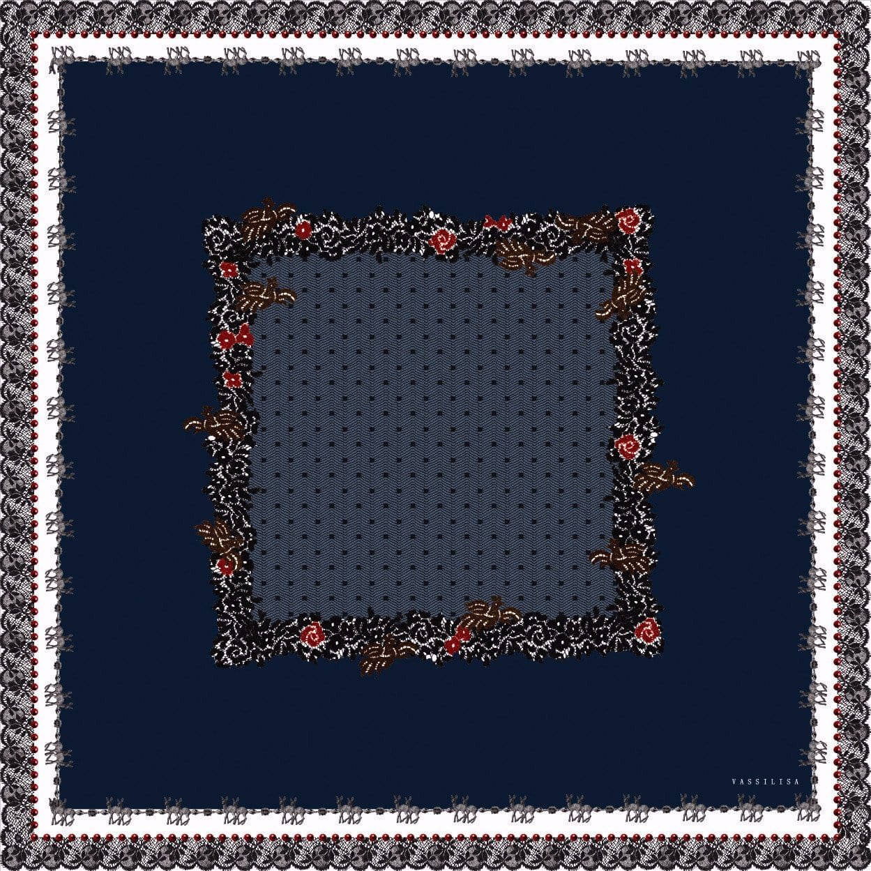 Vassilisa: Scarf with lace and bambi in navy | Accessories > Scarves,Accessories -  Hiphunters Shop