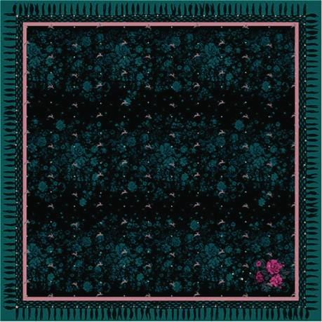 Vassilisa: Floral and rabbit print scarf teal | Accessories > Scarves,Accessories -  Hiphunters Shop