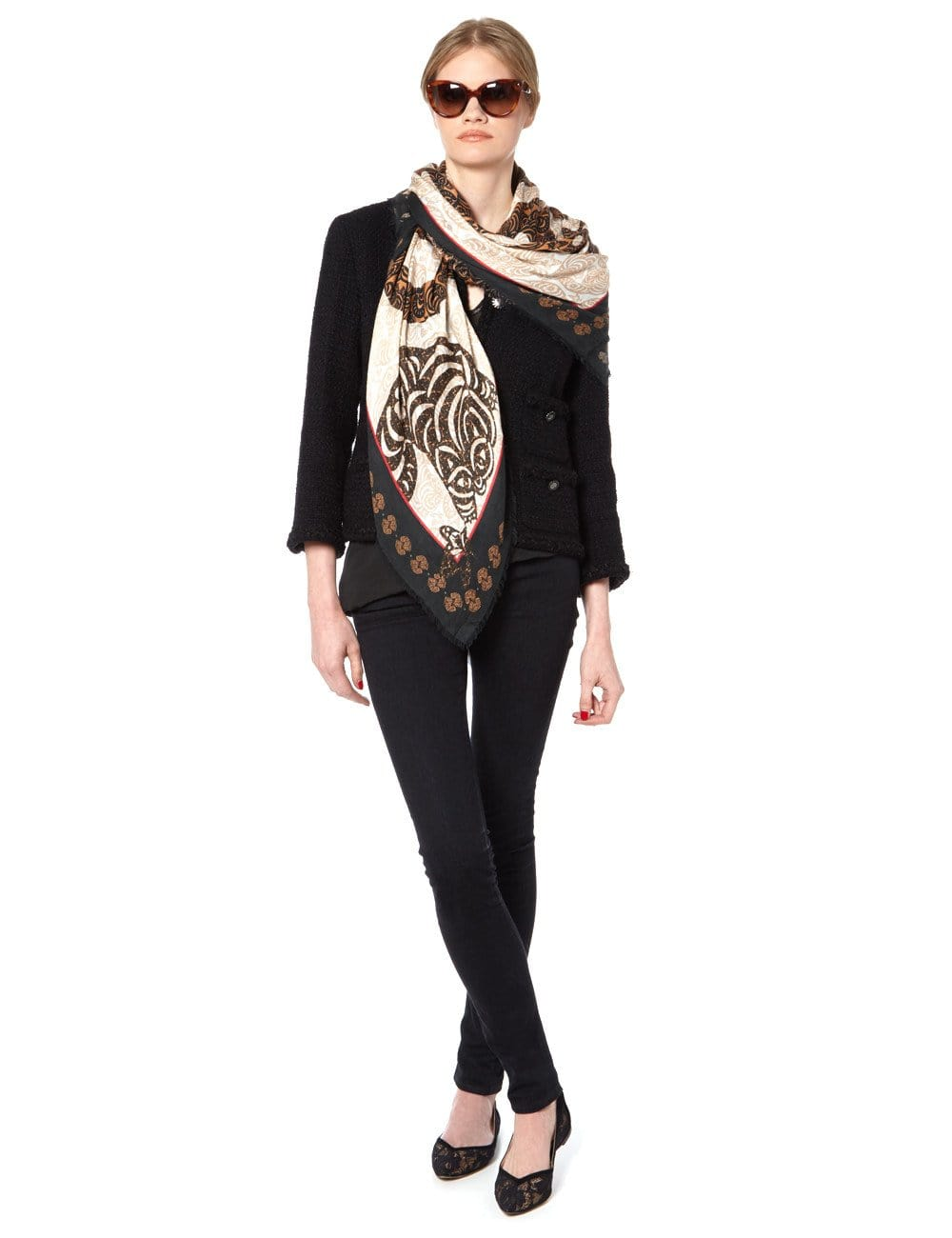 Vassilisa: Cat print scarf sandstone beige | Accessories > Scarves,Accessories -  Hiphunters Shop