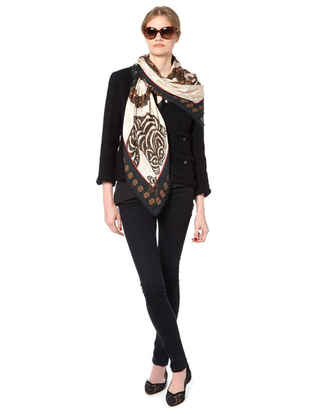 Scarf with Cats Print in Beige and Black Color - VASSILISA