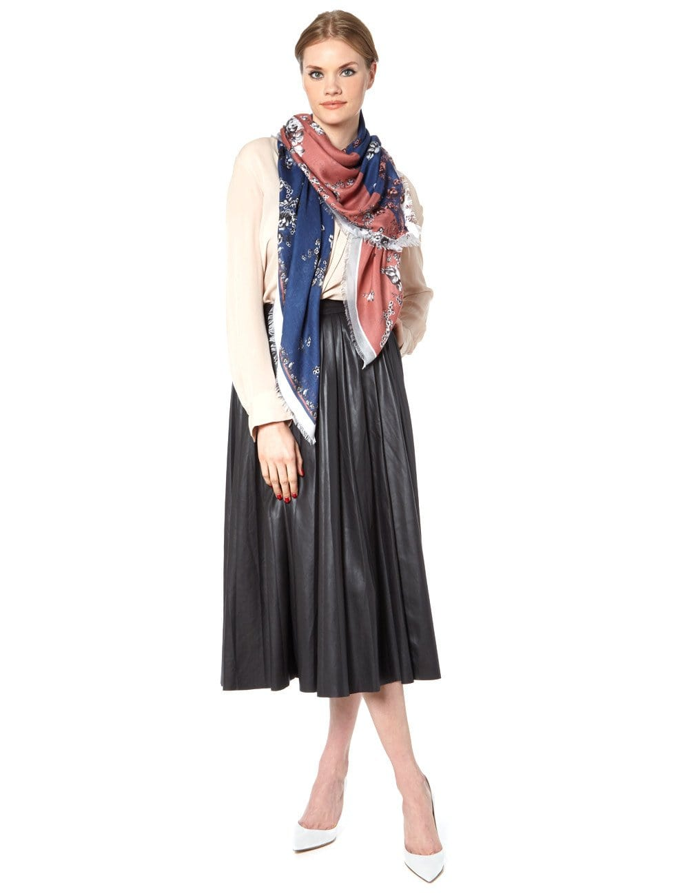 Floral print duo scarf pink and navy