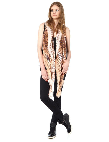 Tiger beige scarf | VASSILISA luxury scarves | made in Italy