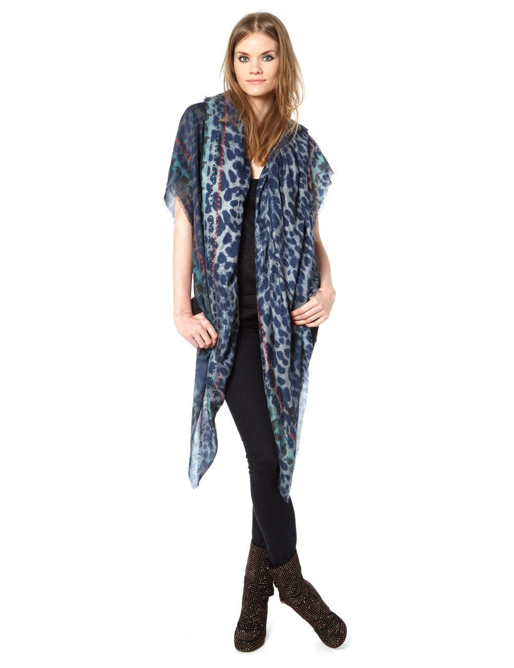 Vassilisa: Panther scarf xl blue | Accessories > Scarves,Accessories -  Hiphunters Shop