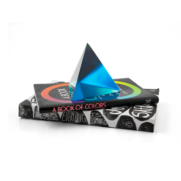 polyhedra object clear blue pyramid in use