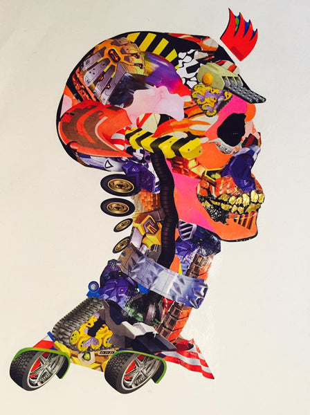 Skully - collage art - a2 Original on hand made paper