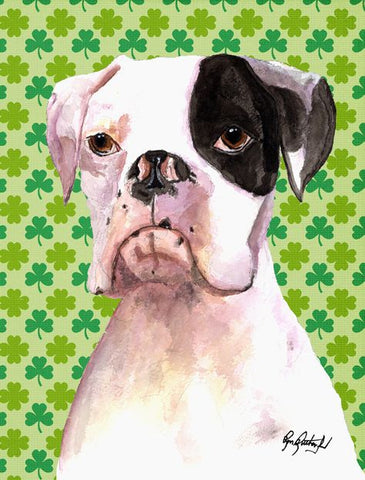 White Boxer Dog with Patch St. Patrick's Day Print