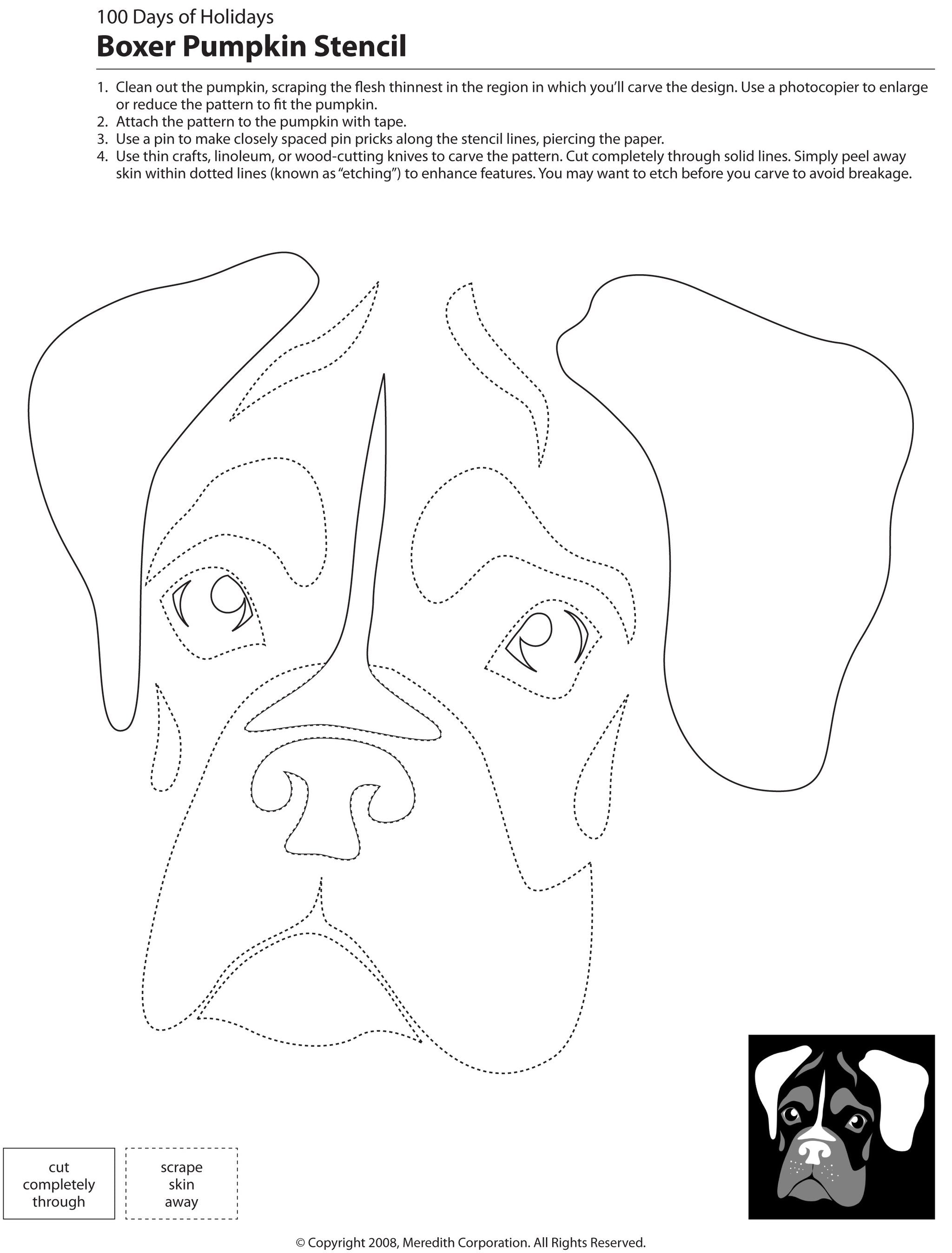 Free pumpkin carving dog stencils breed specific