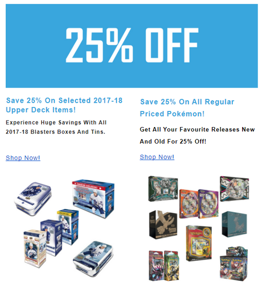 Save 25% off pokemon yugioh accessories and hockey!