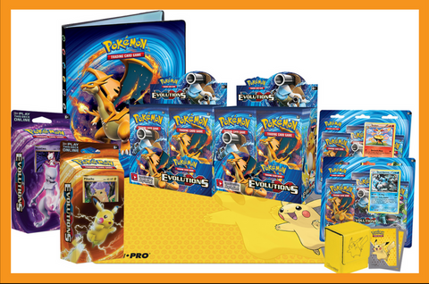 Celebrate the Pokémon XY-Evolutions release in all it's nostalgic glory, with our biggest bundle yet! This big bad bundle includes everything you see here: 2 Pokémon XY-Evolutions Booster Boxes Both Pokémon XY-Evolutions Theme Decks - Pikachu Power and Mewtwo Mayhem Both Pokémon XY-Evolutions 3-booster blisters with Black Kyurem and Braixen promo cards 1 Ultra Pro 9-Pocket Portfolio featuring XY-Evolutions artwork 1 Ultra Pro Premium Pikachu leatherette Deck Box 1 Ultra Pro Pikachu Play Mat 1 Pack of Utlra Pro Pikachu Card Sleeves