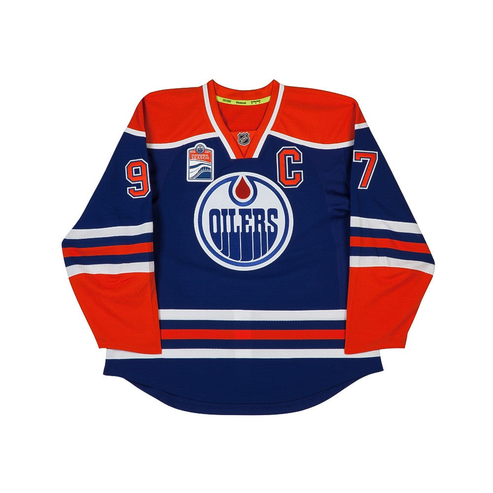 2e3720af05d Connor McDavid Autographed Authentic Edmonton Oilers Blue Jersey with  Captain and Inaugural Patches