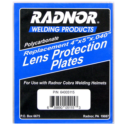 "Radnor® 4 1/2"" X 5 1/4"" Polycarbonate Cover Plate For Cobra™ 45P, 54P, 45Vi, 54Vi, 54Vi Select And DV Series Welding Helmets"