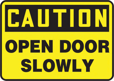 "Accuform Signs® 10"" X 14"" Black And Yellow 4 mils Adhesive Vinyl Admittance And Exit Sign ""CAUTION OPEN DOOR SLOWLY"""
