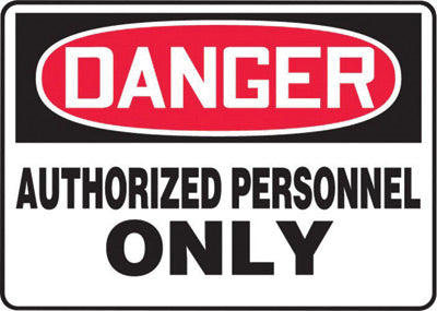 "Accuform Signs® 7"" X 10"" Black, Red And White 0.055"" Plastic Admittance And Exit Sign ""DANGER AUTHORIZED PERSONNEL ONLY"" With 3/16"" Mounting Hole And Round Corner"