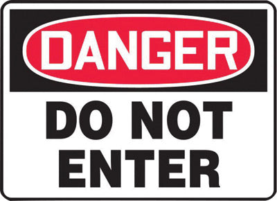 "Accuform Signs® 7"" X 10"" Black, Red And White 4 mils Adhesive Vinyl Admittance And Exit Sign ""DANGER DO NOT ENTER"""