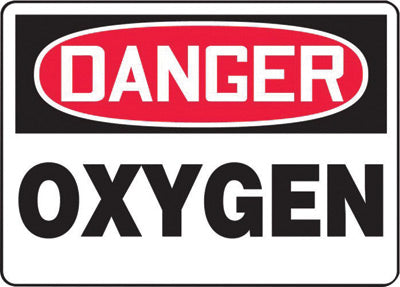 "Accuform Signs® 7"" X 10"" Black, Red And White 0.055"" Plastic Chemicals And Hazardous Materials Sign ""DANGER OXYGEN"" With 3/16"" Mounting Hole And Round Corner"