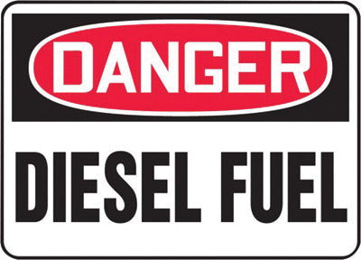 "Accuform Signs® 10"" X 14"" Black, Red And White 0.040"" Aluminum Chemicals And Hazardous Materials Sign ""DANGER DIESEL FUEL"" With Round Corner"