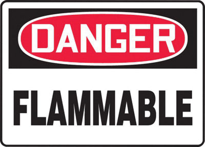"Accuform Signs® 10"" X 14"" Black, Red And White 4 mils Adhesive Vinyl Chemicals And Hazardous Materials Sign ""DANGER FLAMMABLE"""