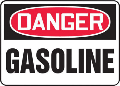 "Accuform Signs® 7"" X 10"" Black, Red And White 0.040"" Aluminum Chemicals And Hazardous Materials Sign ""DANGER GASOLINE"" With Round Corner"