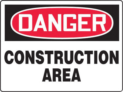 "Accuform Signs® 7"" X 10"" Black, Red And White 0.040"" Aluminum Admittance And Exit Construction Access Sign ""DANGER CONSTRUCTION AREA KEEP OUT"" With Round Corner"