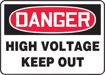 "Accuform Signs® 7"" X 10"" Black, Red And White 0.040"" Aluminum Electrical Sign ""DANGER HIGH VOLTAGE KEEP OUT"" With Round Corner"