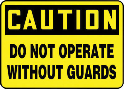 "Accuform Signs® 10"" X 14"" Black And Yellow 4 mils Adhesive Vinyl Equipment Sign ""CAUTION DO NOT OPERATEOUT GUARDS"""