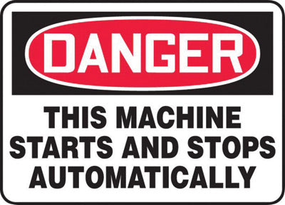 "Accuform Signs® 7"" X 10"" Black, Red And White 0.055"" Plastic Equipment Machinery And Operations Safety Sign ""DANGER THIS MACHINE STARTS AND STOPS AUTOMATICALLY"" With 3/16"" Mounting Hole And Round Corner"