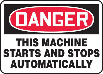 "Accuform Signs® 10"" X 14"" Black, Red And White 0.055"" Plastic Equipment Machinery And Operations Safety Sign ""DANGER THIS MACHINE STARTS AND STOPS AUTOMATICALLY"" With 3/16"" Mounting Hole And Round Corner"