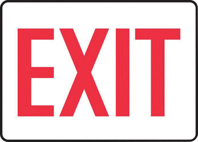 "Accuform Signs® 10"" X 14"" Red And White 0.055"" Plastic Admittance And Exit Sign ""EXIT"" With 3/16"" Mounting Hole And Round Corner"