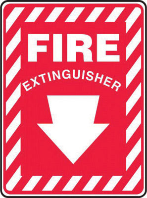 "Accuform Signs® 14"" X 10"" White And Red 0.040"" Aluminum Fire And Emergency Sign ""FIRE EXTINGUISHER (With Arrow)"" With Round Corner"