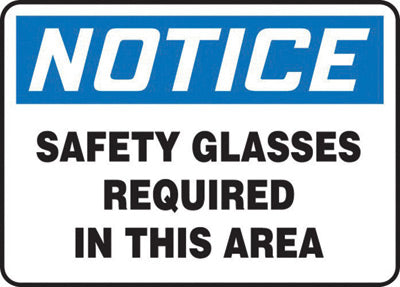 "Accuform Signs® 10"" X 14"" Black, Blue And White 0.055"" Plastic PPE Sign ""NOTICE SAFETY GLASSES REQUIRED IN THIS AREA"" With 3/16"" Mounting Hole And Round Corner"