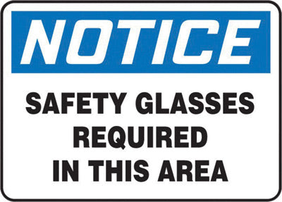 "Accuform Signs® 7"" X 10"" Black, Blue And White 4 mils Adhesive Vinyl PPE Sign ""NOTICE SAFETY GLASSES REQUIRED IN THIS AREA"""