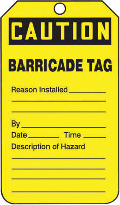 "Accuform Signs® 5 3/4"" X 3 1/4"" Black And Yellow 10 mil PF-Cardstock English Tag ""CAUTION BARRICADE TAG"" With 3/8"" Plain Hole (25 Per Pack)"