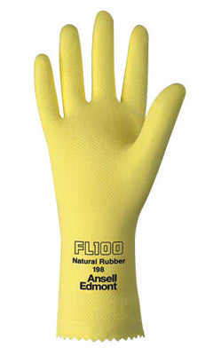 "Ansell Size 8 Lemon Yellow FL100 12"" Cotton Flock Lined 17 mil Unsupported Natural Rubber Latex Chemical Resistant Gloves With Fishscale Grip Finish And Pinked Cuff"