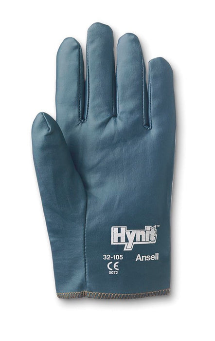 Ansell Size 7 Mens Hynit® Medium Duty Multi-Purpose Cut And Abrasion Resistant Blue Nitrile Impregnated Fabric Fully Coated Work Gloves With Interlock Knit Liner And Slip-On Cuff