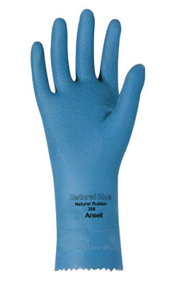 "Ansell Size 8 Sky Blue Natural Blue'Ñ¢ 12"" 17 mil Unsupported Natural Rubber Latex Light Duty Chemical Resistant Gloves With Fishscale Grip Finish And Pinked Cuff"