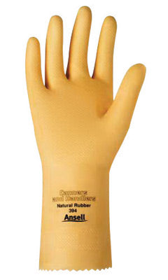 "Ansell Size 10 Natural Canners And Handlers'Ñ¢ 12"" 20 mil Unsupported Natural Rubber Latex Medium Duty Chemical Resistant Gloves With Pebble Embossed Grip Finish And Pinked Cuff"