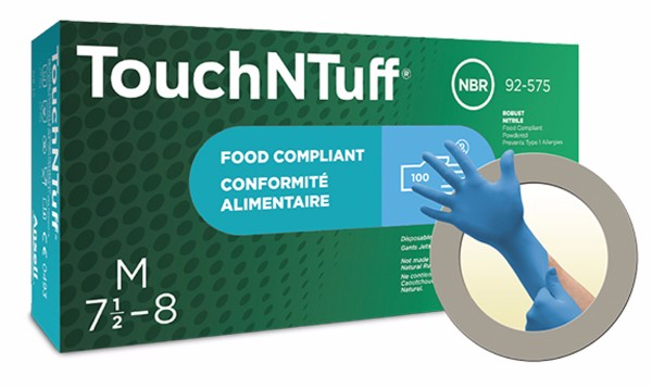 "Ansell Large Blue 9 1/2"" TNT® Blue 5 mil Nitrile Ambidextrous Lightly Powdered Disposable Gloves With Textured Finger Tip Finish And Rolled Beaded Cuff"