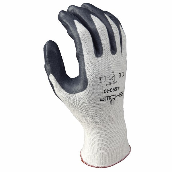 SHOWA™ Size 8 Zorb-IT® Cut Resistant Gray Nitrile Dipped Palm Coated Work Gloves With White Seamless Nylon And Polyester Knit Liner And Elastic Cuff