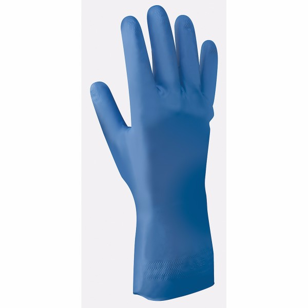 "SHOWA™ Size 10 Blue Nitri-Dex® 12"" 9 mil Unsupported Nitrile Fully Coated Chemical Resistant Gloves With Textured And Tractor-Tread Finish And Gauntlet Rolled Cuff"