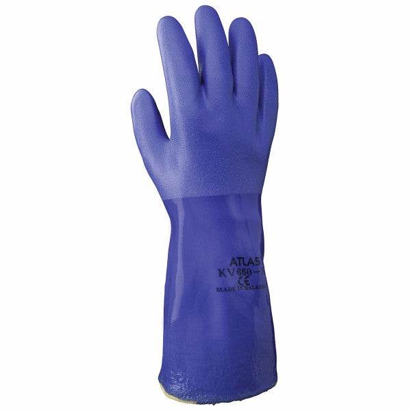 "SHOWA™ Size 9 Blue Atlas® 12"" Aramid Lined Kevlar® And PVC Fully Coated Chemical Resistant Gloves With Rough Finish"