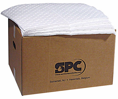 "Brady® 15"" X 19"" SPC™ SXT® Top Layer Blue And Bottom Layer White 3-Ply Meltblown Polypropylene Perforated Double Sided Heavy Weight Sorbent Pad (100 Per Bale)"