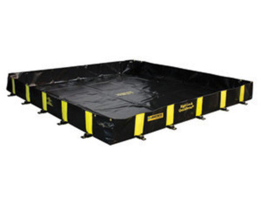 "Justrite Manufacturing Co 8' X 8' X 12"" QUICKBERM® Black And Yellow PVS Coated Fabric Rigid-Lock Spill Containment Berm With Spill Capacity Of 475 Gallons"