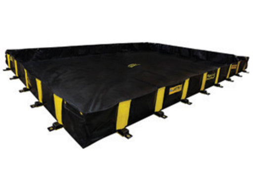 "Justrite Manufacturing Co 12' X 20' X 12"" QUICKBERM® Black And Yellow PVS Coated Fabric Rigid-Lock Spill Containment Berm With Spill Capacity Of 1795 Gallons"