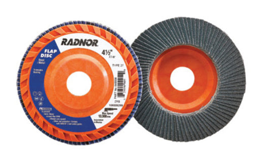 "Radnor® 4 1/2"" X 7/8"" 60 Grit Zirconia Alumina Type 27 Flap Disc With Trimmable Plastic Back"
