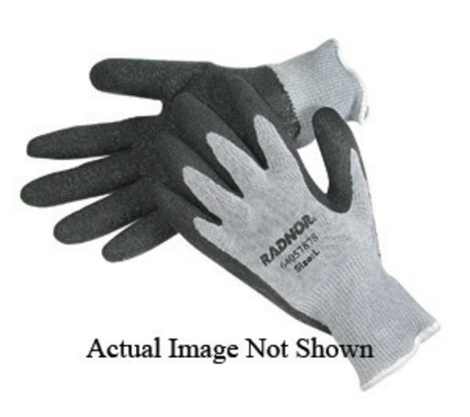 Radnor® Small Gray String Knit Gloves With Black Latex Palm Coating And Yellow Hem